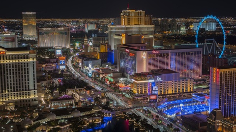 Las Vegas Strip at night - high vantage
